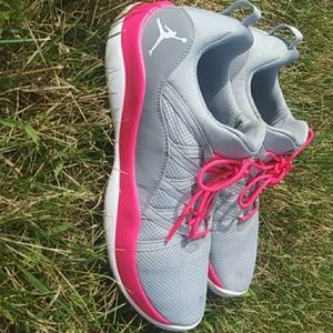 Grey and Pink Jordan's